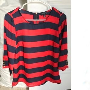 Red & navy striped blouse, gold exposed zipper